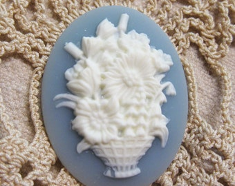 Victorian Look White Basket of Mixed Flowers Blue Cameo Jewelry Cabochon Pendant 40mm x 30mm