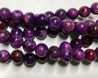 Crazy Lace Agate Purple 6mm Gemstone Rounds Approx 49 beads 8 Inch strand