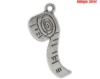 10 Tape Measure Charms Pendants Single Sided Sewing Charm Quilting Charm Antique Silver 27mm x 12mm C170