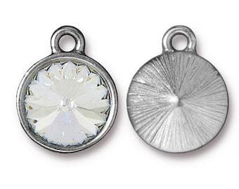 Crystal Birthstone Charm Rhodium Silver Charm TierraCast Lead Free Pewter with Swarovski Rhinestone 18.25x14.25mm One Charm