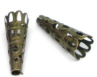 20 Antique Bronze Tone Scalloped Filigree Bead Cones Bead Caps 23mm x 9mm F369