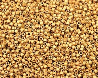 11/0 Miyuki Delica Duracoat Galvanized Matte Gold Glass Seed Beads 7.2 grams DB01832F