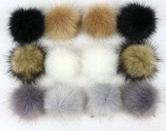 Pom Pom Mix Imitation Fox Fur Faux Fur PomPom Ball with Loop for Craft Projects Hat Decoration Knitting Crochet 80mm 12 pcs
