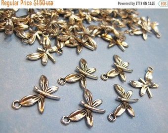 CYBER SALE Clearance 10 Silver Plated Pewter Dragonfly Charms 15mm x 20mm