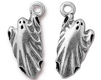 Ghost Charm Antique Silver Unearthly Spirit Pendant Charm TierraCast Lead Free Pewter 24mm x 11mm