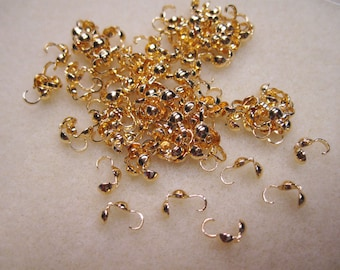 Gold Plated Brass Bead Tip Clam Tip Knot Cover 8mm x 3.5mm 24 pcs F413