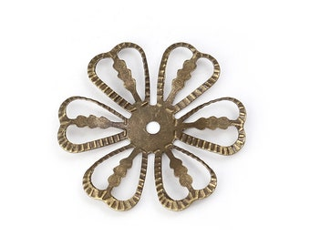 20 Antique Bronze Flower Filigree Connectors Jewelry Connector Flower Findings 28mm 20 pcs F276