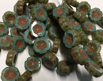 10 Aqua Opalite Hawaiian Flower Czech Pressed Glass Carved Coin Beads 14mm with Picasso