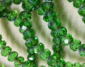 Bright Grass Green Christmas Green Transparent Czech Pressed Glass Large Faceted Rondelles 6mm x 8mm with Picasso Finish