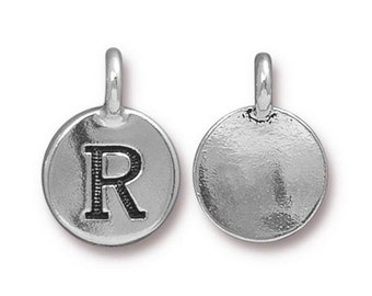 "Letter ""R"" Initial Pendant Tiny Silver Charm TierraCast Antique Silver Alphabet Charms TierraCast Lead Free Pewter 16.5x11.5mm One Charm"