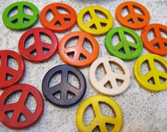 Clearance 14 Large Magnesite Gemstone Peace Sign Pendant Beads 35mm