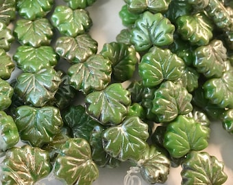 Tea Green Picasso Czech Pressed Glass Maple Leaf Beads with Silver Finish 10 x 13mm 20 beads
