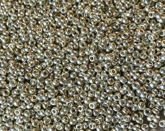 11/0 Duracoat Galvanized Silver Miyuki Glass Seed Beads 6 inch tube 28 grams D4201