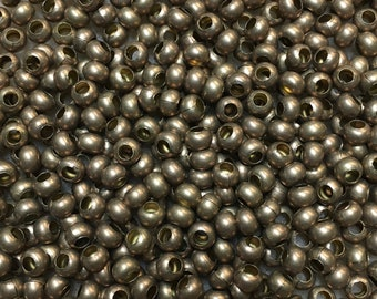 6/0 Matte Bronze Plated 100% Brass Round Seed Beads Made in the USA Approx 10 grams
