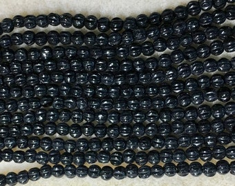 Melon Beads Jet Black Czech Pressed Glass Round Beads 3mm 100 beads