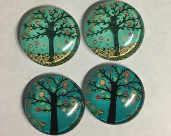 4 Tree Nature Blue Green Flat Back Glass Dome Cameo Jewelry Cabochon Pendant 20mm Round 4 pcs