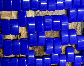 15 Blue Opaque Czech Pressed Glass Carrier Beads Two Hole Beads 9mm x 17mm