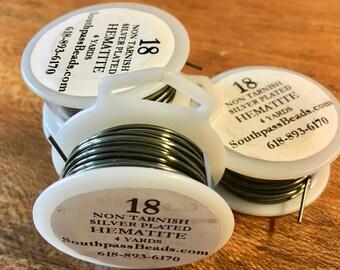 18 gauge Non Tarnish Hematite Plated Copper Craft Wire 4 yards Made in USA