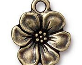 TierraCast Antique Brass Apple Blossom Charm 17mm x 14mm One charm Made in the USA F563C