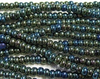 6/0 Green Iris Genuine Czech Glass Preciosa Rocaille Seed Beads One Strand 12 grams
