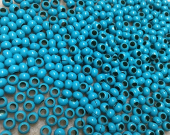 6/0 Turquoise Plated 100% Brass Round Seed Beads Made in the USA Approx 10 grams