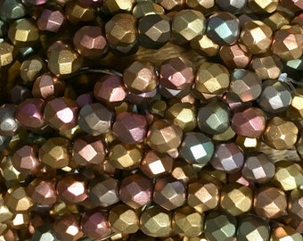 6mm Metallic Mix Czech Glass Fire polished Crystal Beads 25 beads