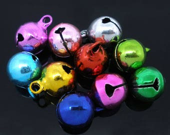 Multi Color Jingle Bell Beads Bright Colors 14mm x 10mm 25 pcs F510