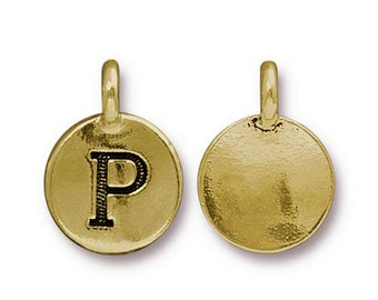 "Letter ""P"" Initial Pendant Tiny Gold Charm TierraCast Antique Gold Alphabet Charms TierraCast Lead Free Pewter 16.5x11.5mm One Charm"