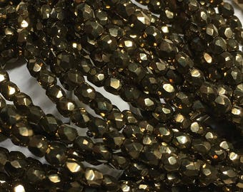 Bronze Gold Czech Glass Firepolished Crystal Beads 3mm 50 beads