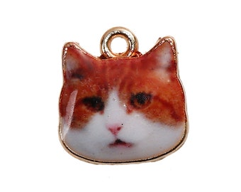Orange White Cat Charms Single Sided Animal Charms with Gold Plating 13x13mm 4 pcs