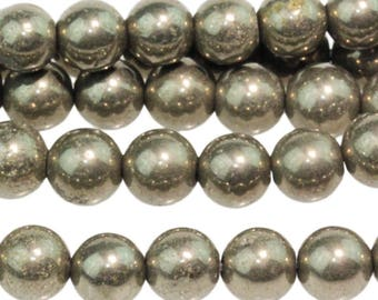Pyrite 6mm Gemstone Rounds Approx 34 beads 8 Inch strand