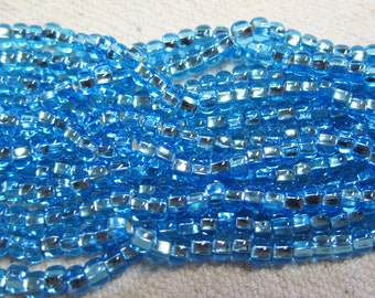 6/0 Aqua Silver Lined Genuine Czech Glass Preciosa Rocaille Seed Beads 13 grams