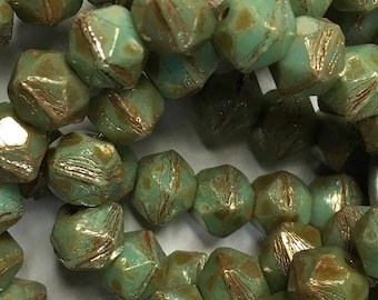 Mint Picasso Czech Pressed Glass English Cut 8mm 20 beads