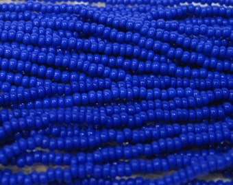 11/0 Blue Opaque Czech Glass Preciosa Rocaille Seed Beads 19 grams