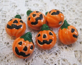 2 Jack o Lantern Pumpkin Tiny Peruvian Ceramic Jack-o-Lantern Pumpkin Halloween Bead 11mm 2 beads