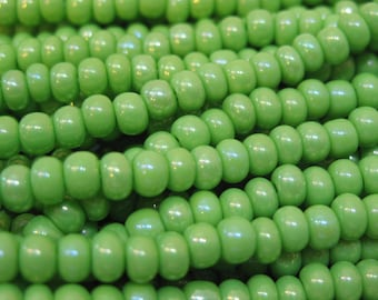 6/0 Pale Green AB Czech Glass Seed Beads 12 grams