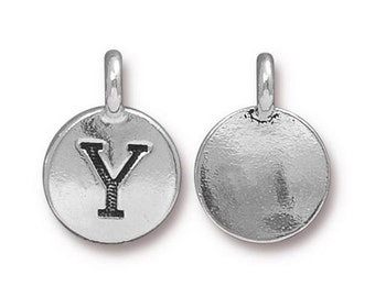 "Letter ""Y"" Initial Pendant Tiny Silver Charm TierraCast Antique Silver Alphabet Charms TierraCast Lead Free Pewter 16.5x11.5mm One Charm"