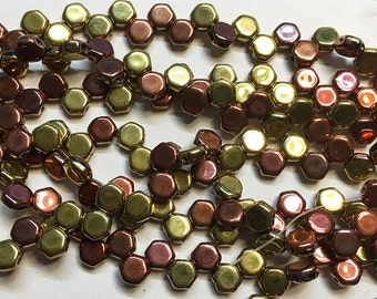 30 Jet California Metallic Copper Gold Honeycomb Czech Pressed Glass Hexagon Two Hole Beads 6mm