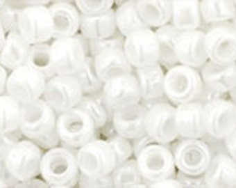 8/0 Opaque Lustered White Toho Glass Seed Beads 2.5 inch tube 8 grams TR-08-121