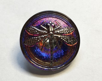 Medium Blue and Purple Iridescent Czech Glass Button with Metal Shank 23mm