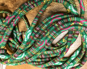Cotton Jewelry Rope Native Ethnic Cotton Cord 6.0 mm Green Multi 5 yards
