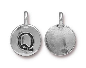 "Letter ""Q"" Initial Pendant Tiny Silver Charm TierraCast Antique Silver Alphabet Charms TierraCast Lead Free Pewter 16.5x11.5mm One Charm"