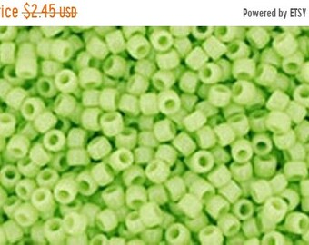 ON SALE 15/0 Opaque Sour Apple Green Toho Glass Seed Beads 2.5 inch tube 8 grams TR-15-44
