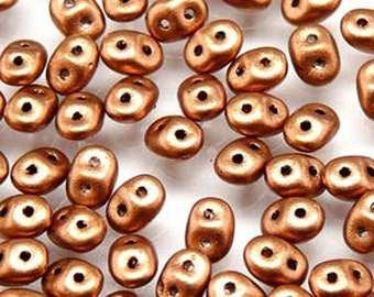 Super Duo Crystal Bronze Copper Czech Pressed Glass Two Hole Seed Beads 2.5mm x 5mm 22.5 grams