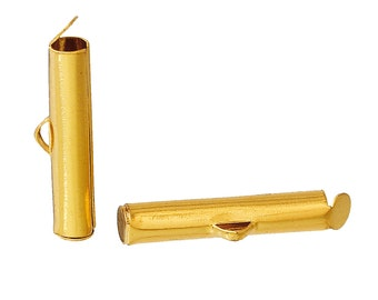 10 Cord End Tips Bead Pods Gold Plated Slide Tube for Seed Beads Loom Bracelets 20mm x 4mm 10 pcs F242