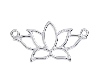 5 Lotus Flower Connectors Bright Silver Tone Finish F373