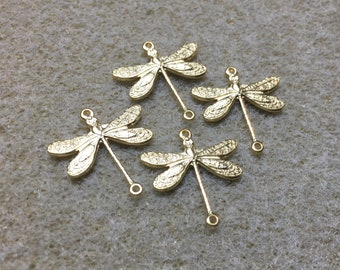 Dragonfly Gold Plated Small 3 Hole Connectors Brass 17mm x 16mm Flat Back 4 pcs F107A