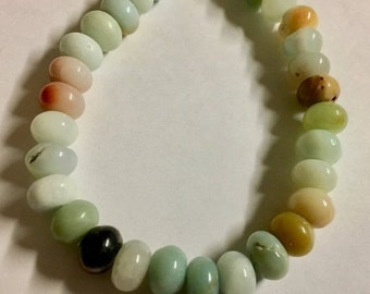 ON SALE Amazonite Gemstone Beads 6x8mm Multicolor Rondelles Approx 36 Per 8 Inch Strand
