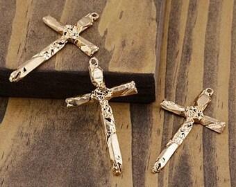 Cross Quartz Points Cross Focal 29x49mm Satin Gold Finish Zola Elements Religious Pendant 1 pc F223D