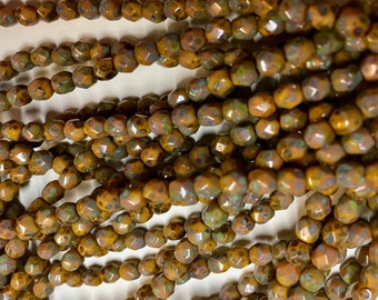 4mm Pumpkin Orange with a Picasso Finish Czech Glass Fire polished Crystal Beads 50 beads